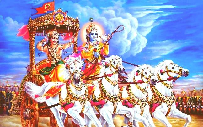 Krishna Arjuna Bhagavad gita Yoga Bonheur Paix Méditation