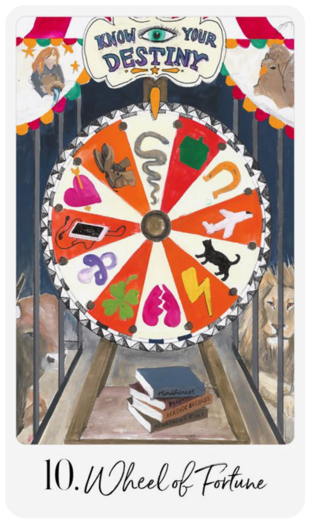 Trouver le bonheur dans sa vie ? Une question de chance. Illustration carte tarot divination Roue de la Fortune