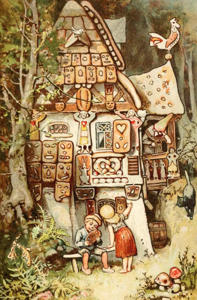Plus de bonheur comme plus de douceurs. Illustration du conte Hansel et Gretel grignotant la maison en pain d'épice sous l'oeil de la sorcière