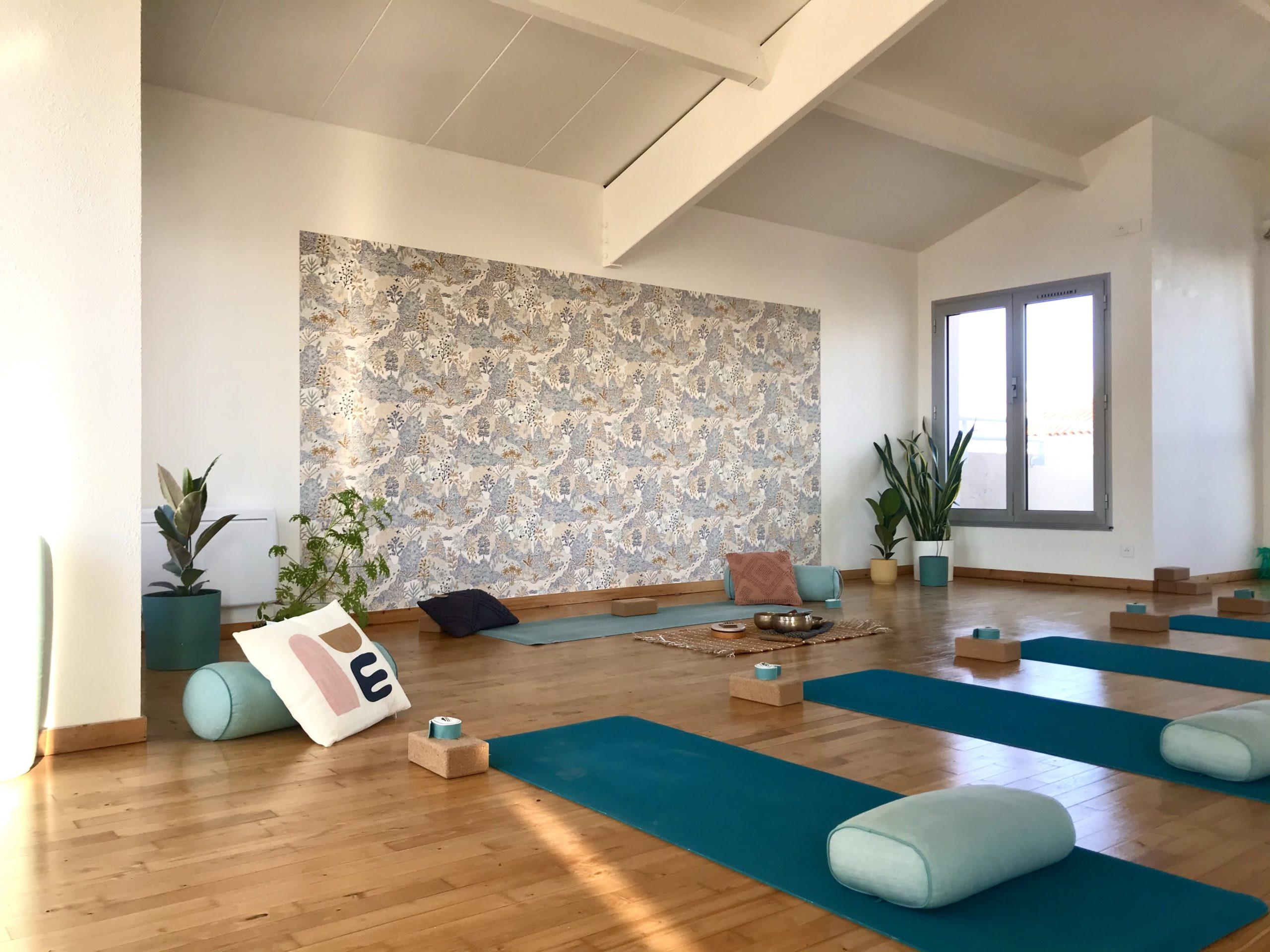 Vue de la salle de pratique avec le matériel installé, tapis, bolsters, briques et sangles